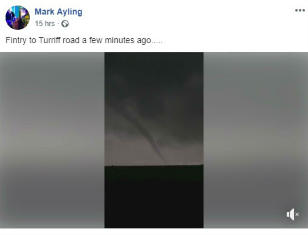 Facebook post with tornado