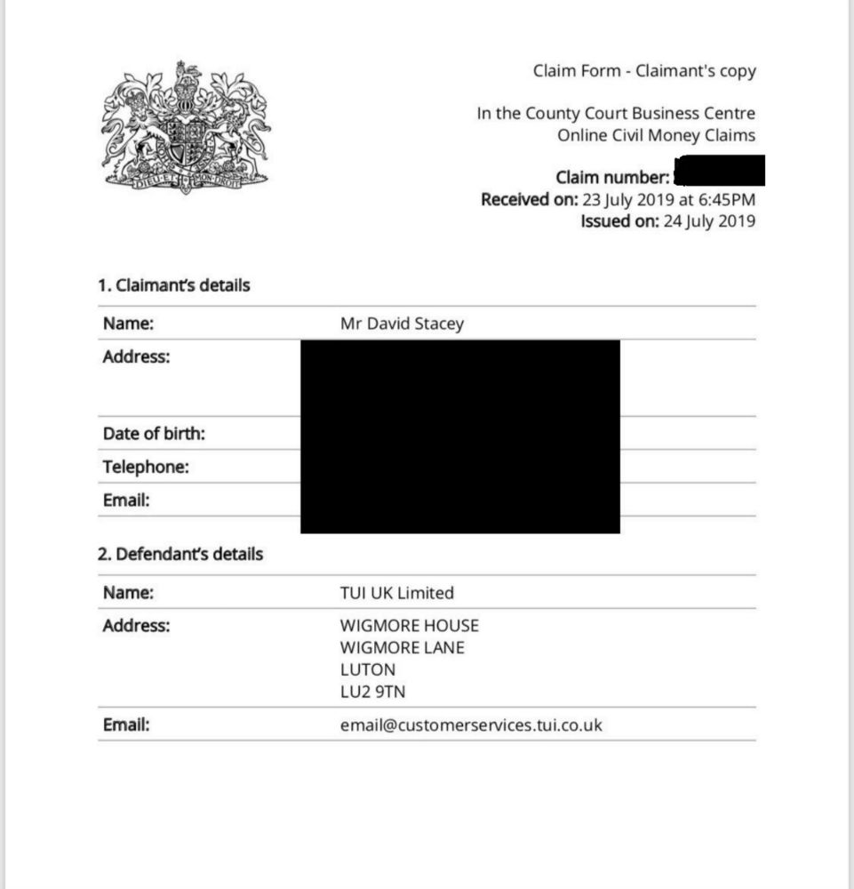 he document states the claimant's details, which David has blacked out apart from his name and the defendant's detail, which is TUI UK Limited. The document confirms he is making a civil money claim.