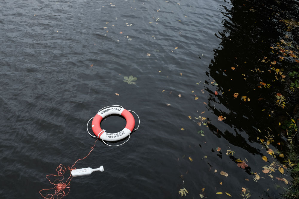 A life ring floating in water