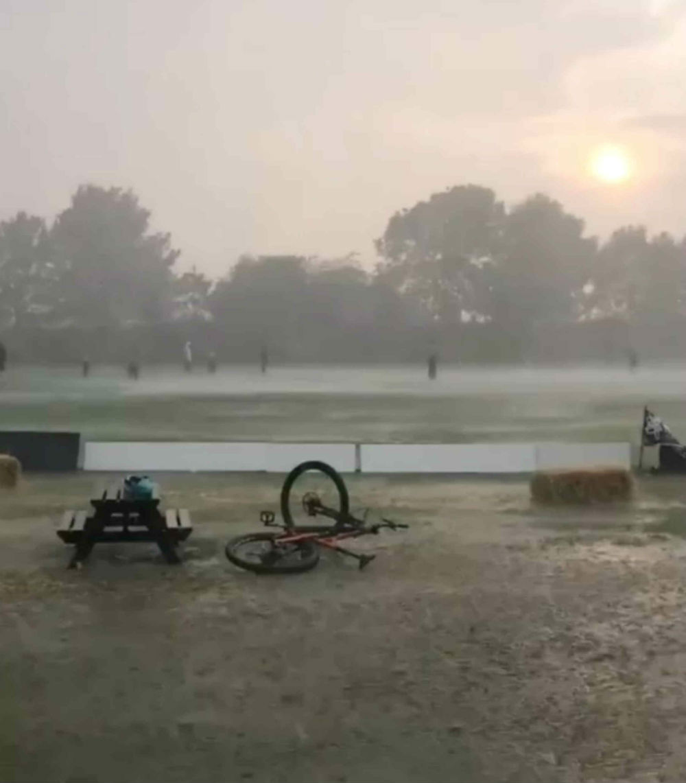 cricket pitch during storm