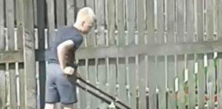 Nathan using lawnmower