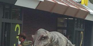Dinosaur at Drive Thru window