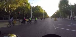 Image of cyclists in traffic on The Mall
