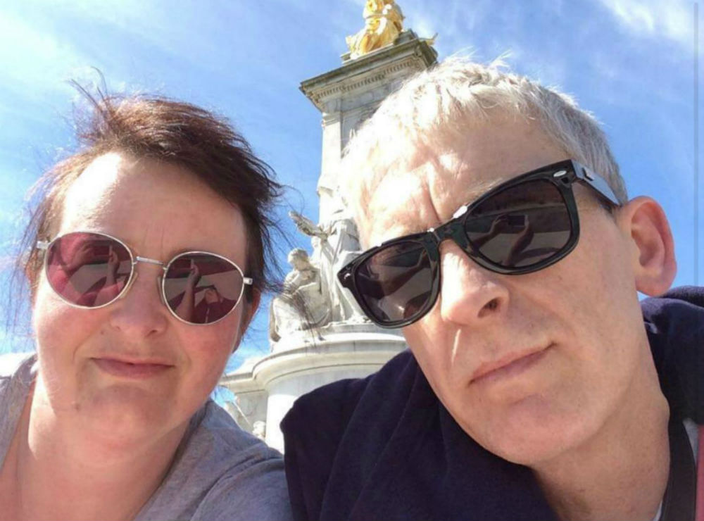 Janine with her husband in London