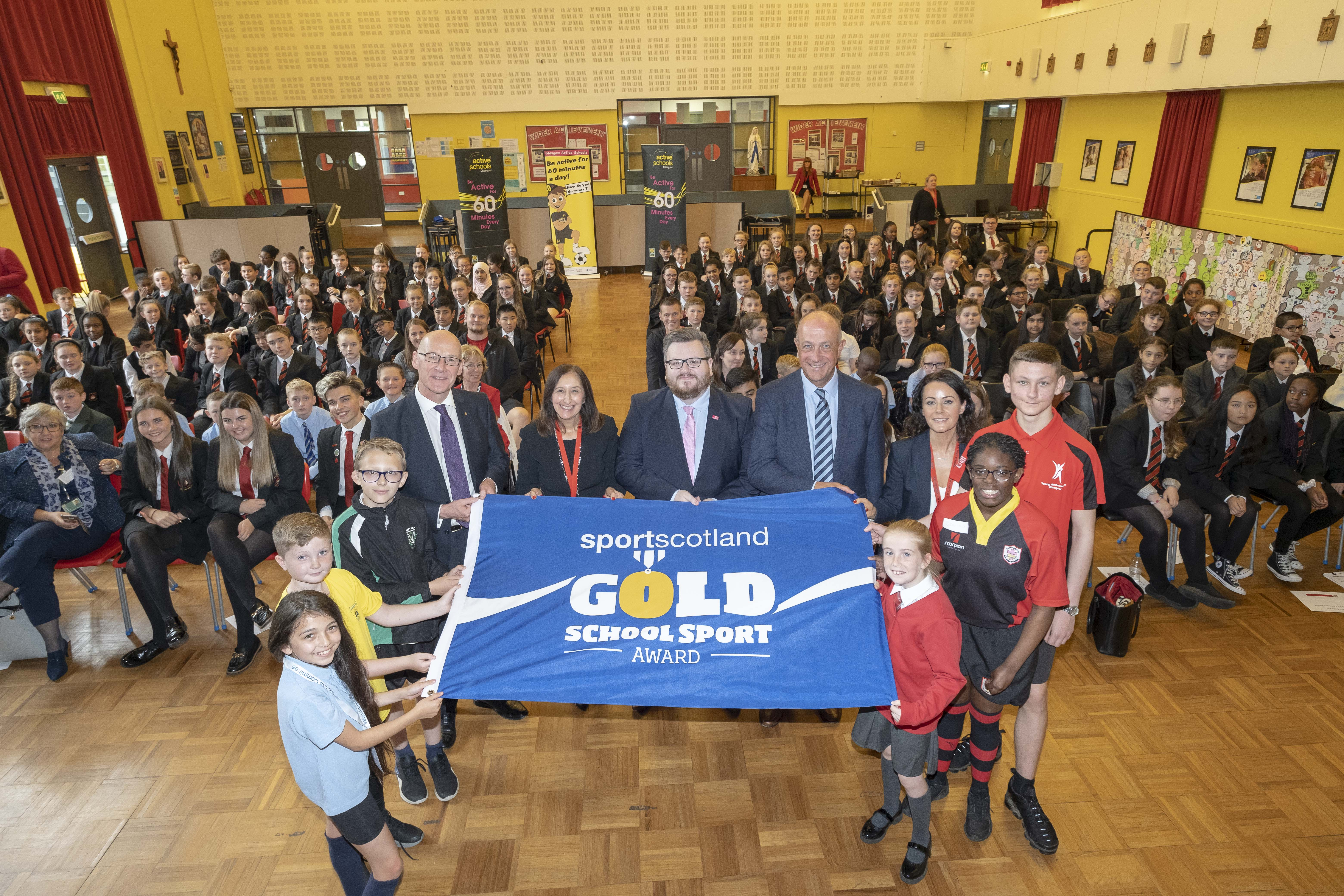 Sport Scotland Award during a visit to St Paul's RC High School