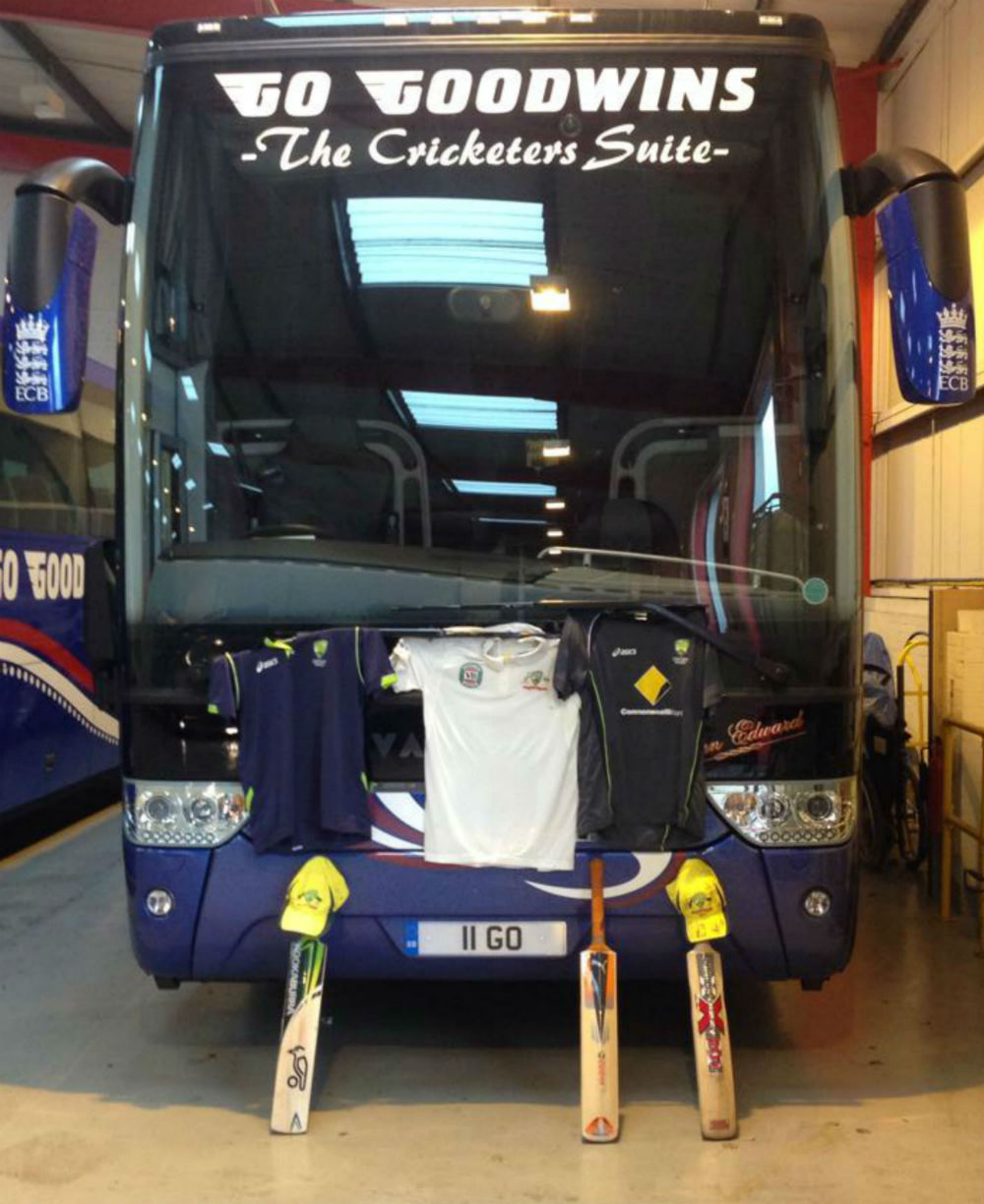 GO Goodwins Coaches bus kitted out with Australian cricket team gear