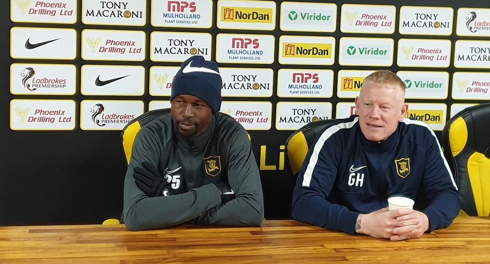 Livingston defender Efe Ambrose with manager Gary Holt   Livingston news