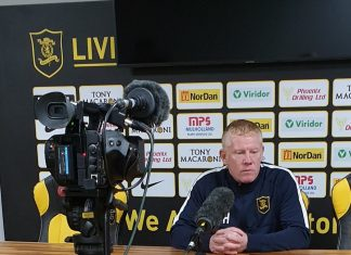 Livingston manager Gary Holt at a press conference   Livingston news