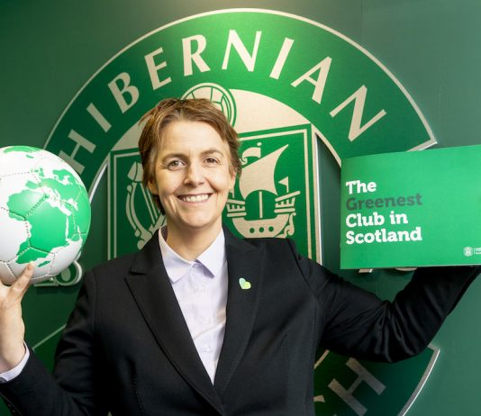 Hibs CEO Leeann Dempster during a press conference   Hibs news