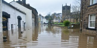 A town flooded