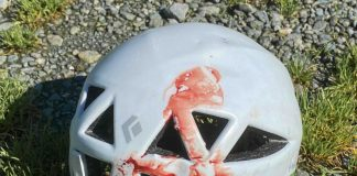 Bloody helmet after cycling accident