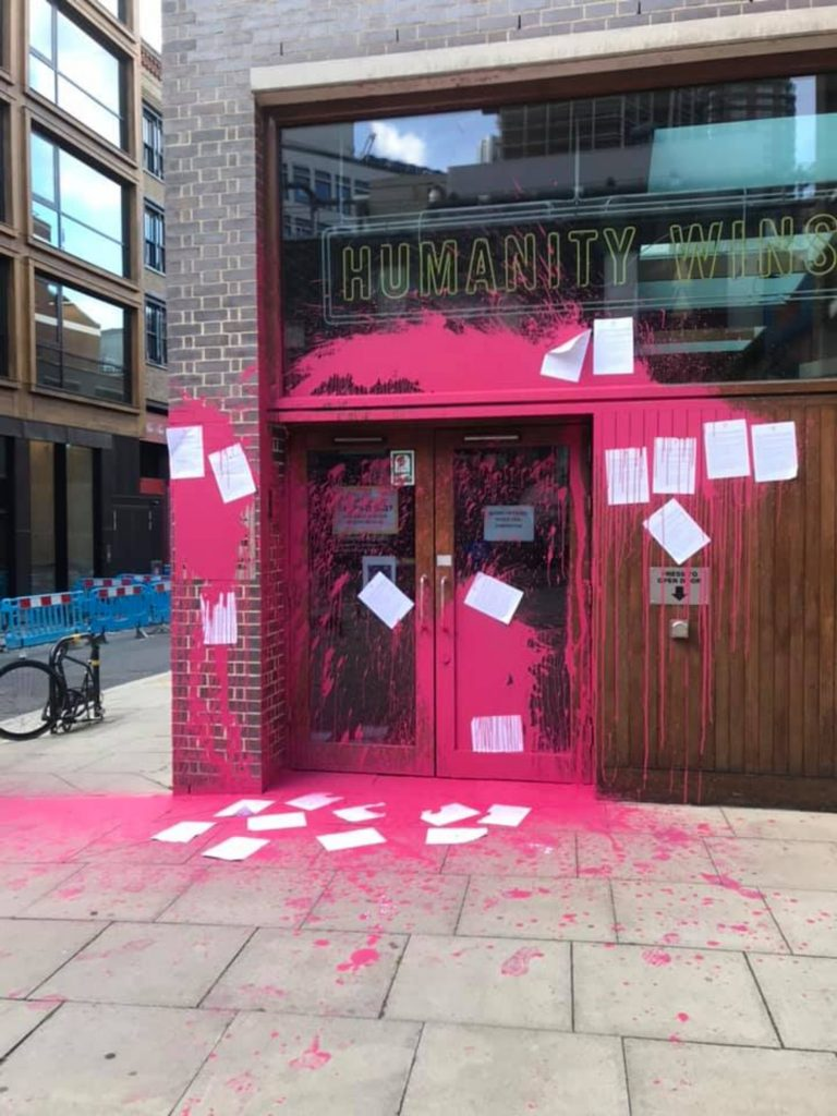 Beyond Politics vandalised the humanitarian charity's headquarters for failing to take action