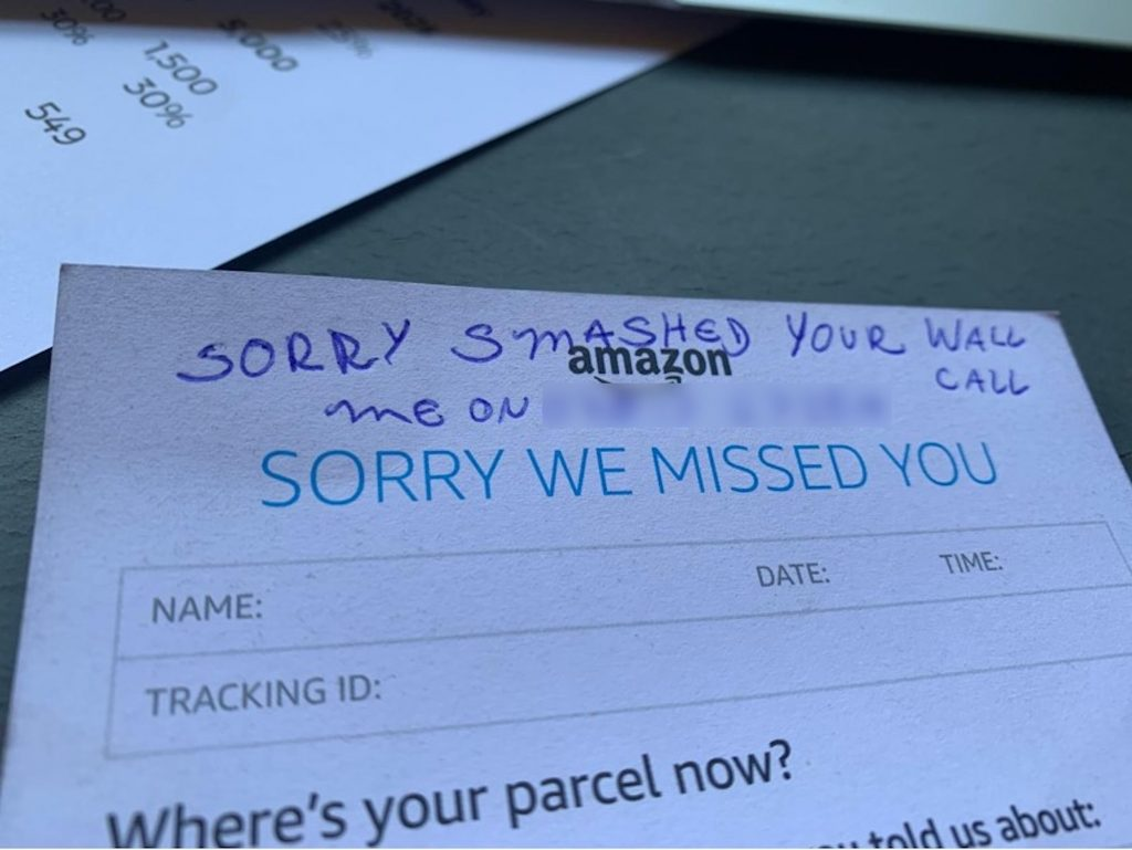 Note left by Amazon driver