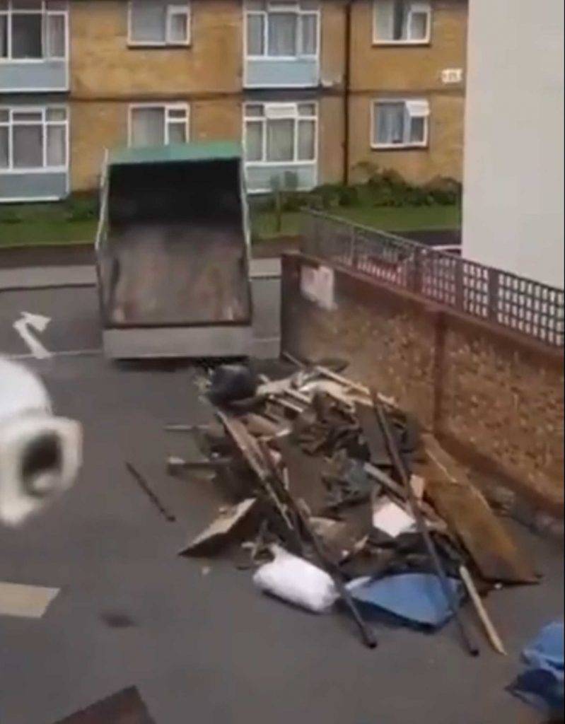 The brazen fly tipper was caught dumping a full truck load of rubbish on a residential street