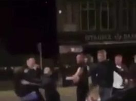 Football fans throw chairs in Mirfield, West Yorkshire