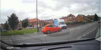 Hermes delivery driver pulls out at a junction and collides with another vehicle.