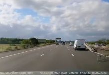 Heart stopping moment ladder flies of the back of a van travelling at 72 mph on motorway