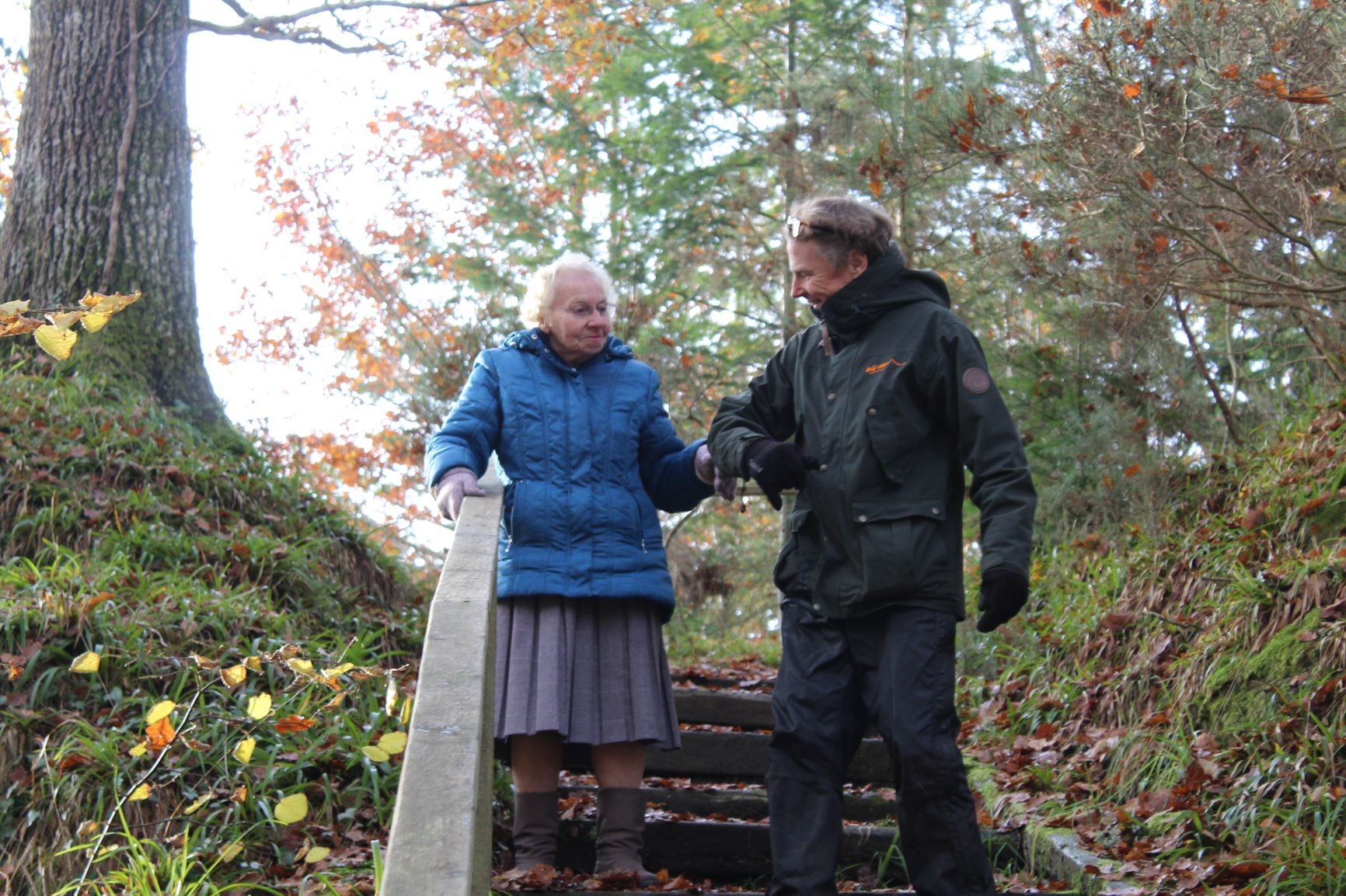 , Silver Saplings care home resident taking a walk