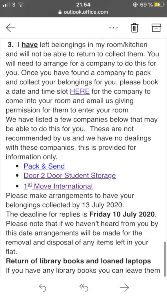 Stirling University students face charges of up to £750 to get their belongings