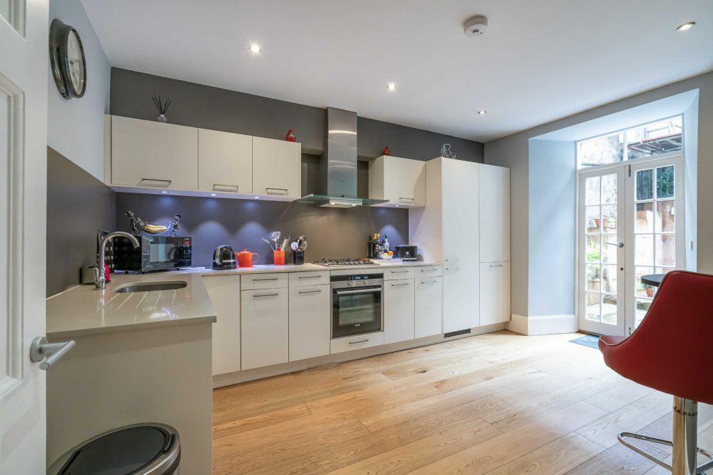 The kitchen very modern and sleek