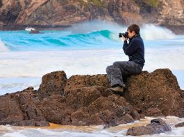 A photographer capturing scene that could be used in the calendar marking the Year of Coasts and Waters