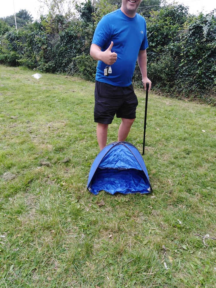 A labourer has gone viral after an image of a tiny tent that fit a Tennants can