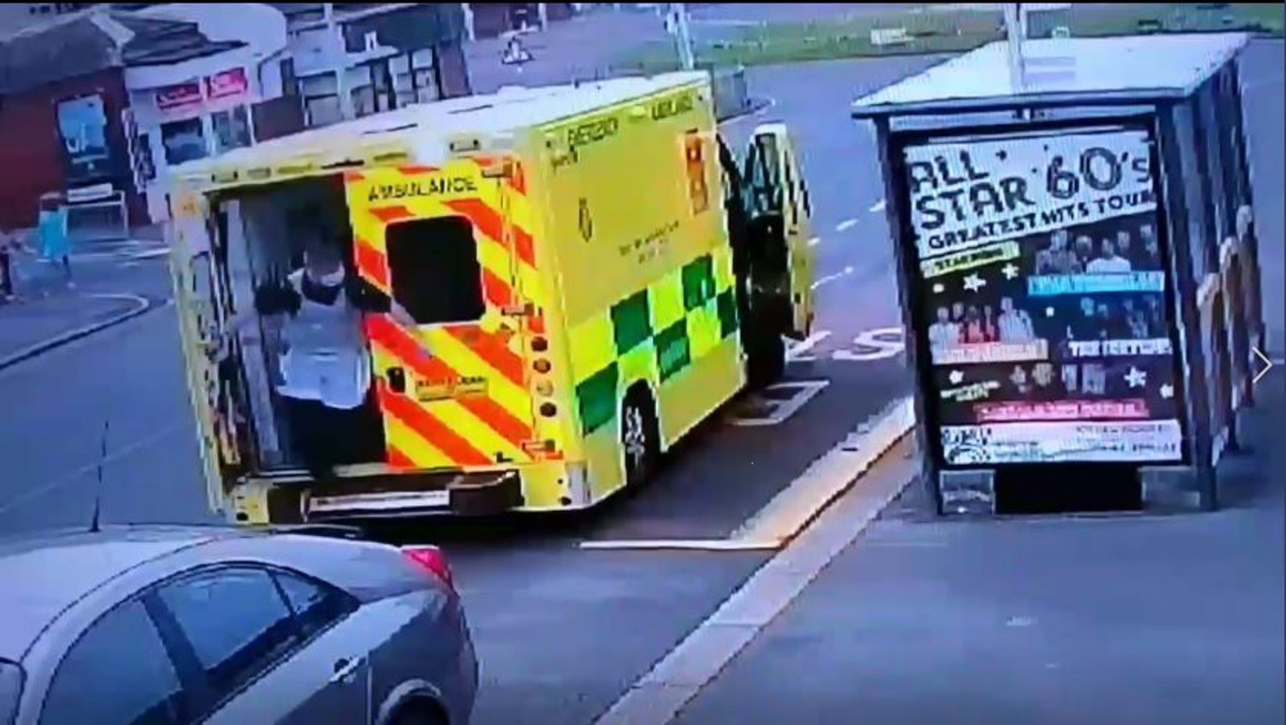 A paramedic explodes out the back doors to confront the man| By Deadline News, Viral Video News