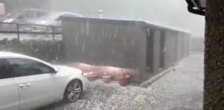 Hailstones the size of golf balls descended upon a Welsh town