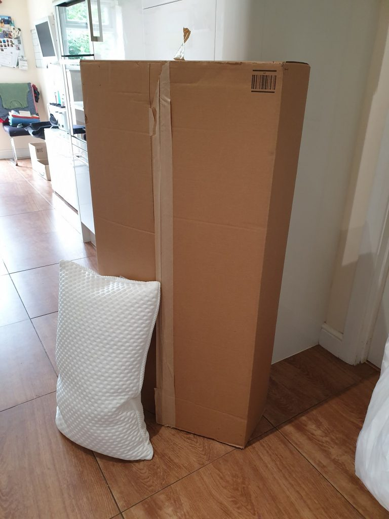 Amazon customer makes makeshift bed from massive parcel after order