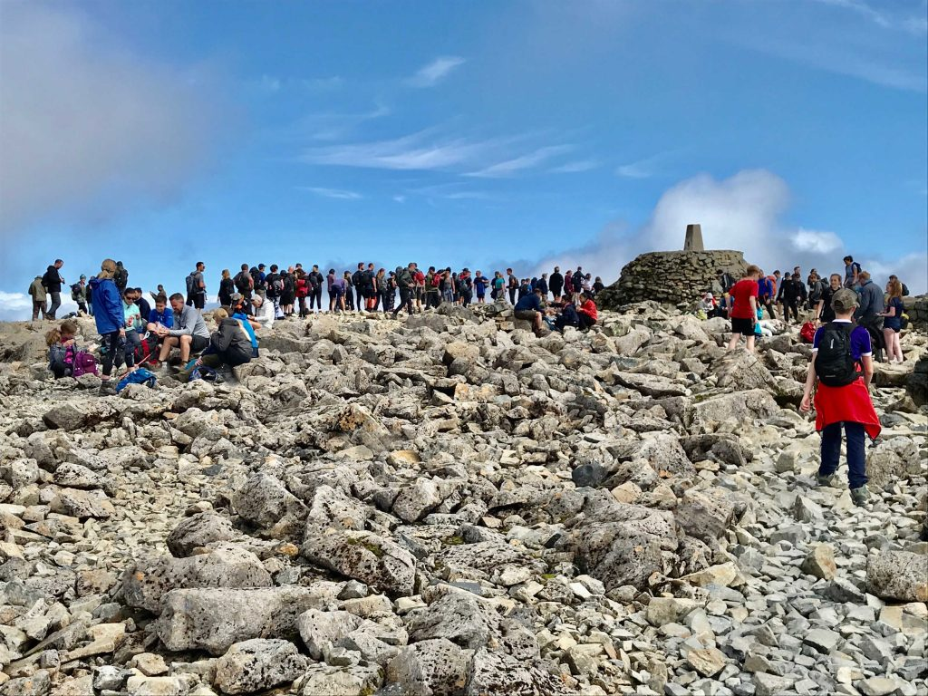 Hikers were captured queuing at the top of Ben Nevis