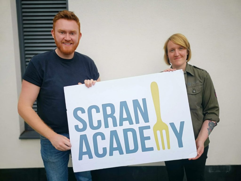 John Loughton and Fiona Donaldson picture for the merger of Prep Table Scotland and Scran Academy
