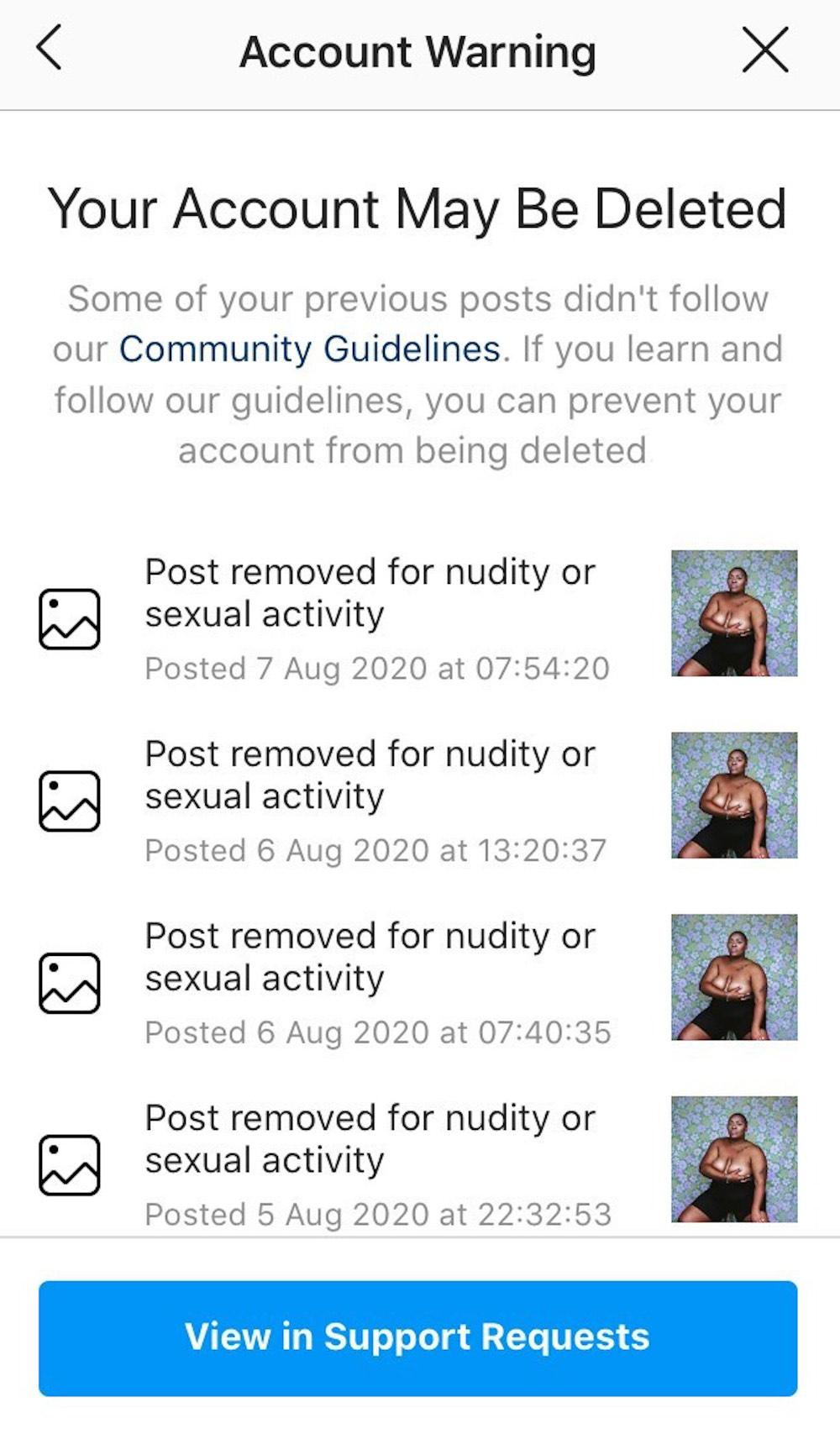 Instagram censoring