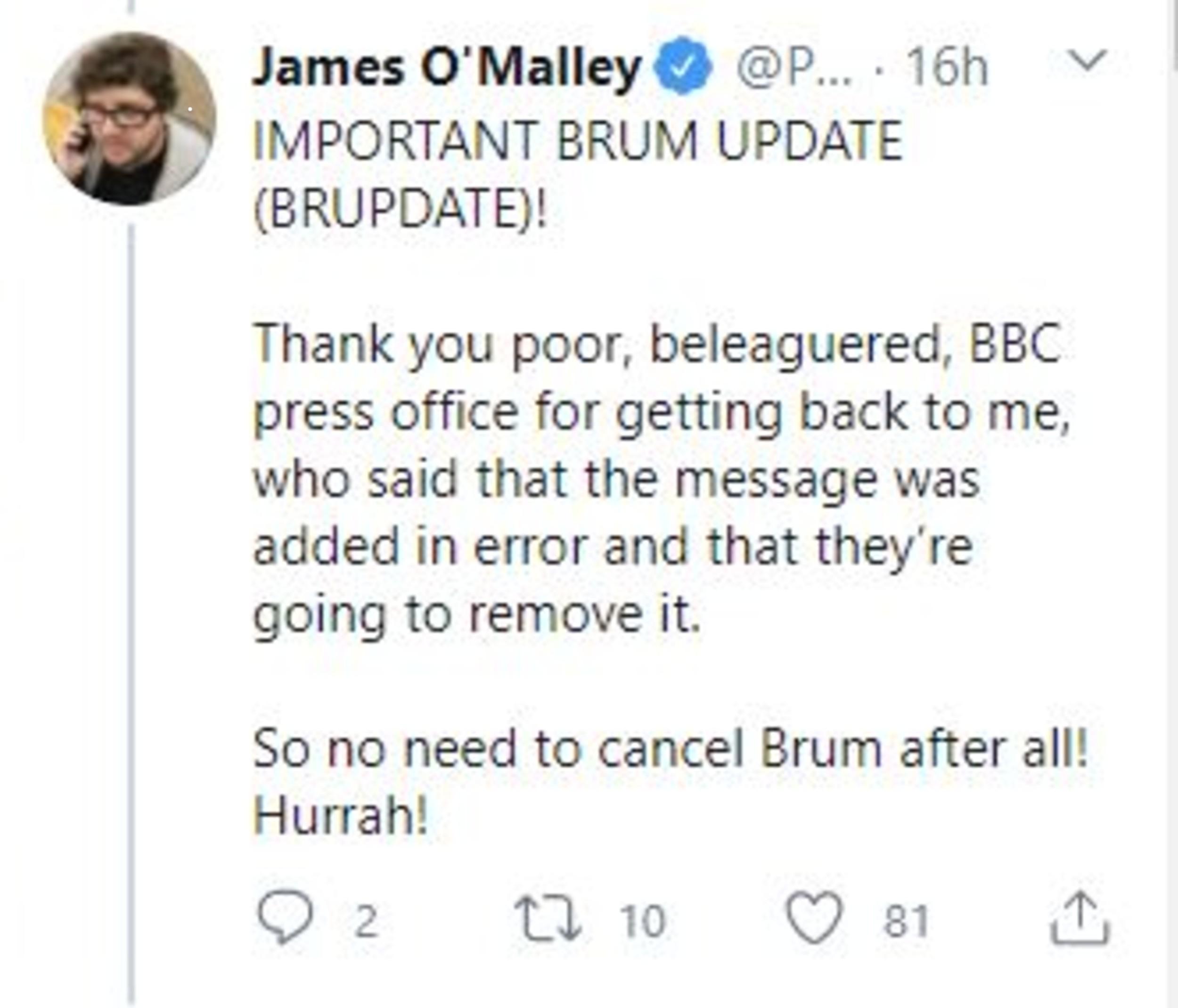 Twitter post Brum 2-Entertainemtn News