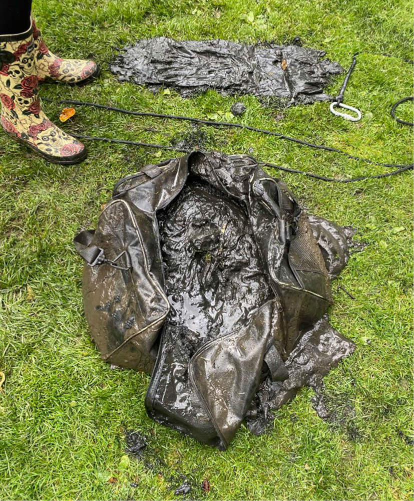 Calum Black found a cats head dumped in a weighted bag while magnet fishing