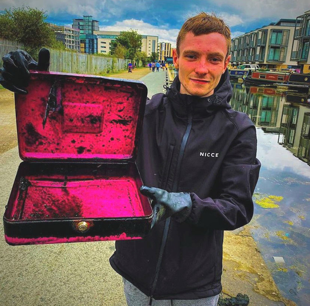 Calum Black pictured above holding a box from one of his finds
