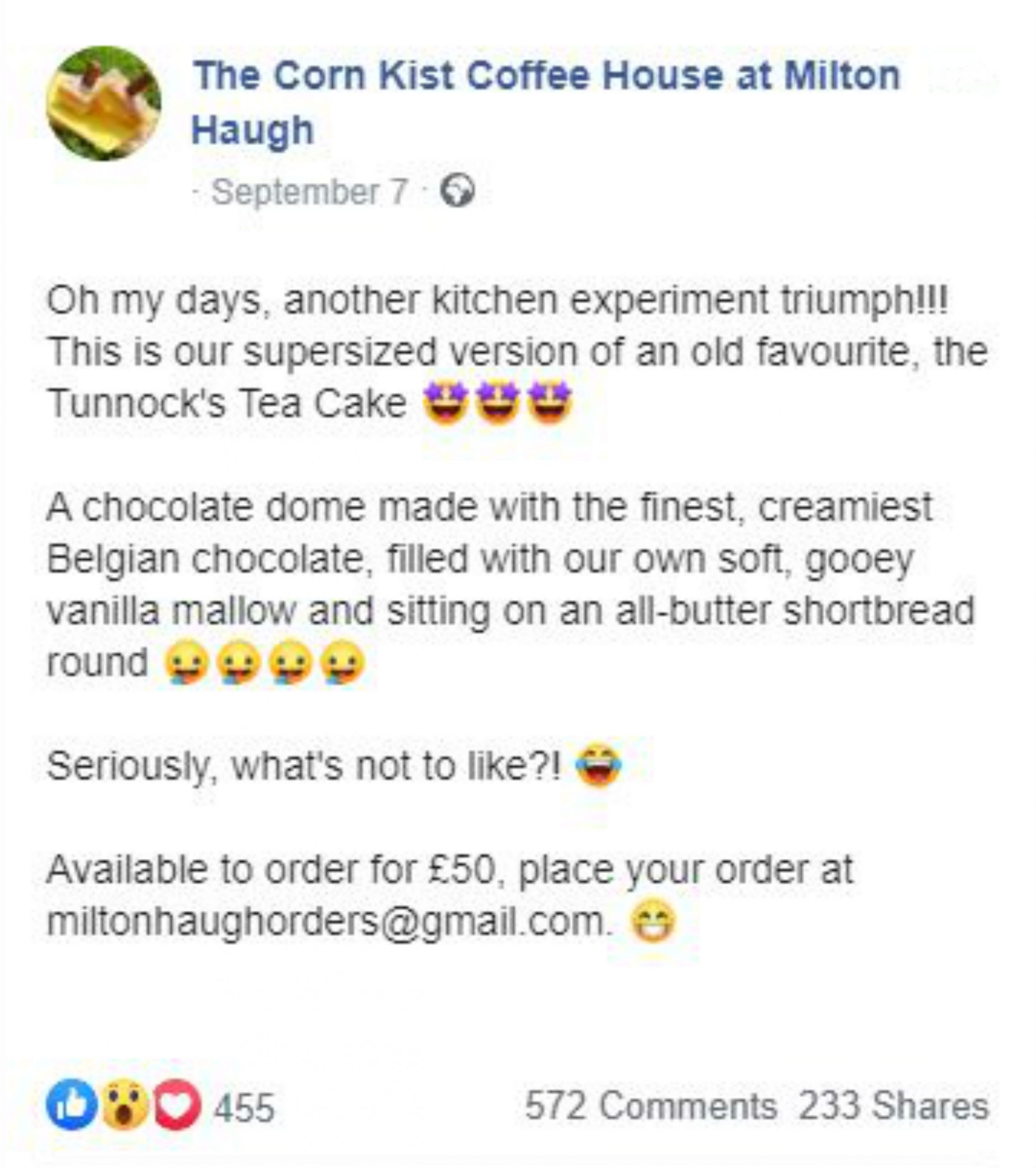 A Facebook post by the Corn Kist Coffee House