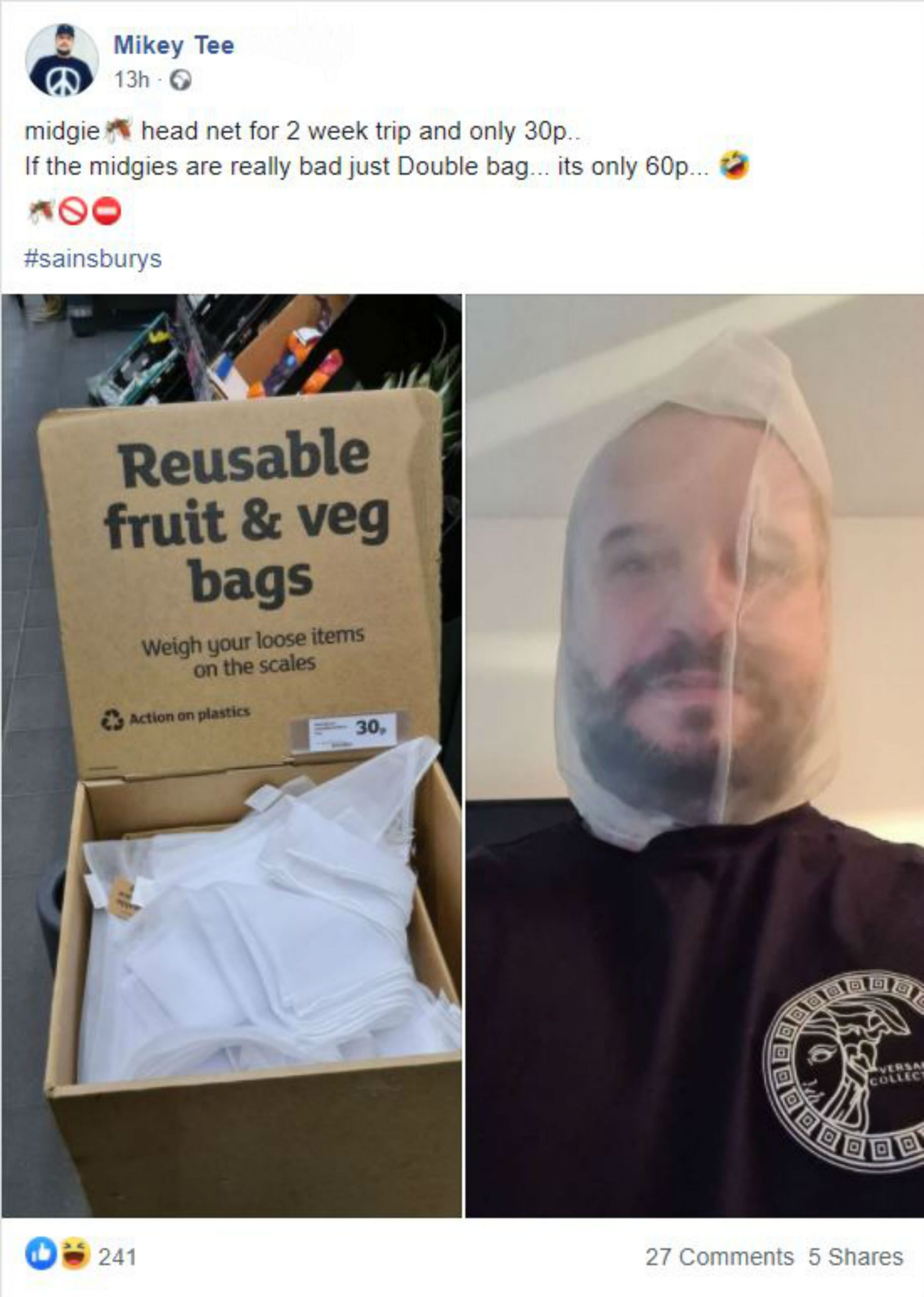 Mikey Tollerfield, 42, from Edinburgh shared a snap wearing his Sainsbury's bag on his head- Scottish News