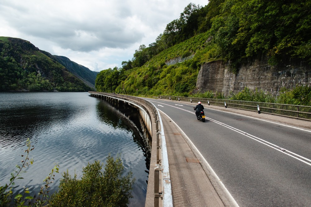 A picture of a motorbike on Filmed on the route between Tyndrum and Appin in Argyll (A85)- Scottish News