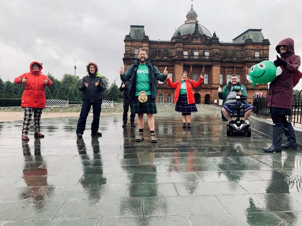 NSPCC staff in Glasgow Green taking on Kiltwalk challenge