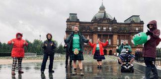 NSPCC staff in Glasgow Green taking on Kiltwalk challenge