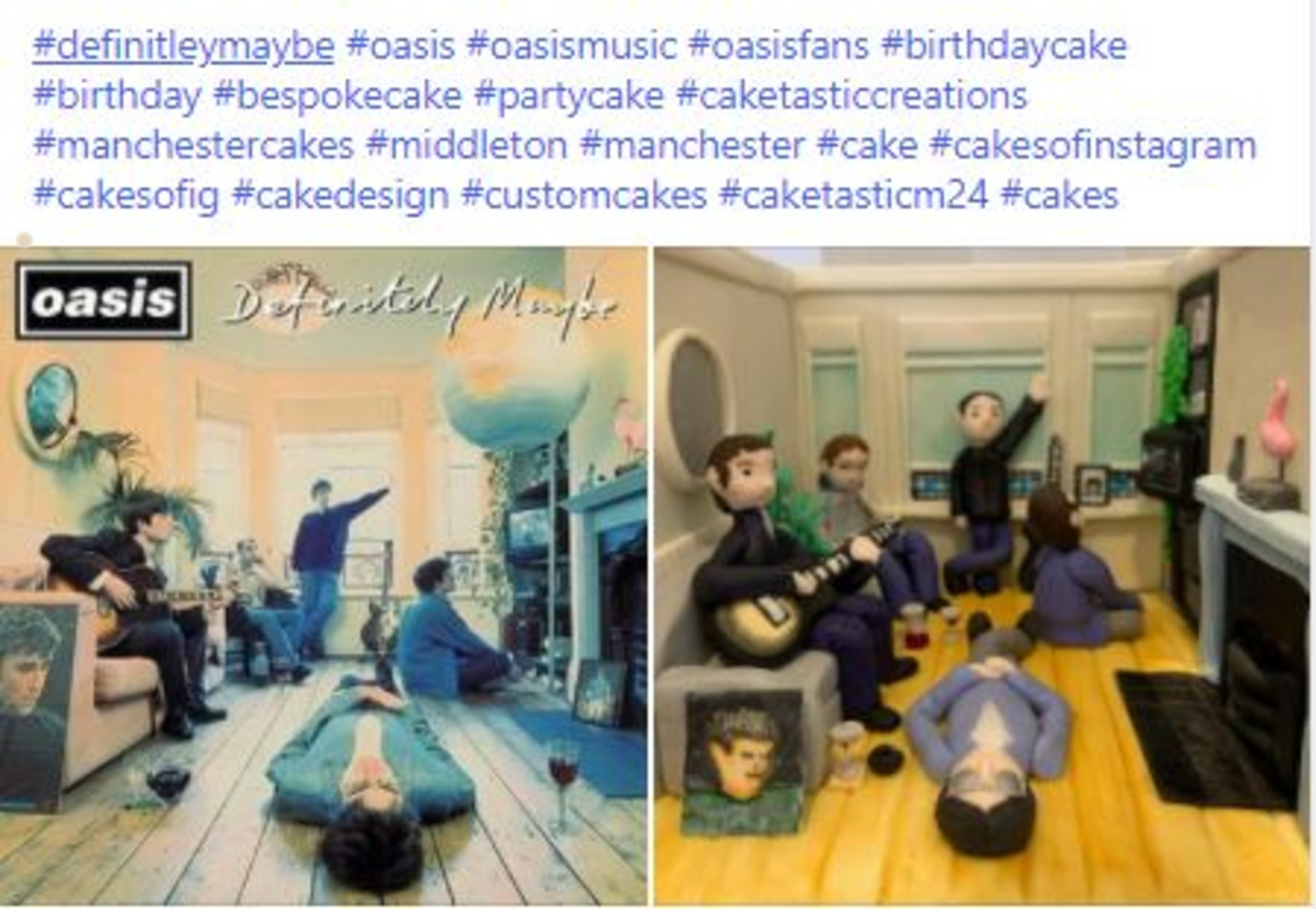 Photo comparison of the album and cake- Food and Drink News