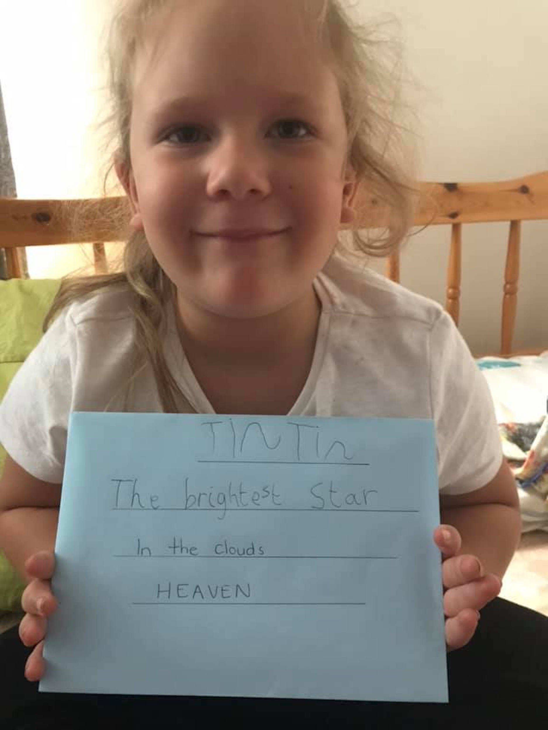Naveah with her letter ready to post-Viral News