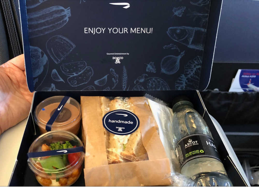 BA boxed inflight meal