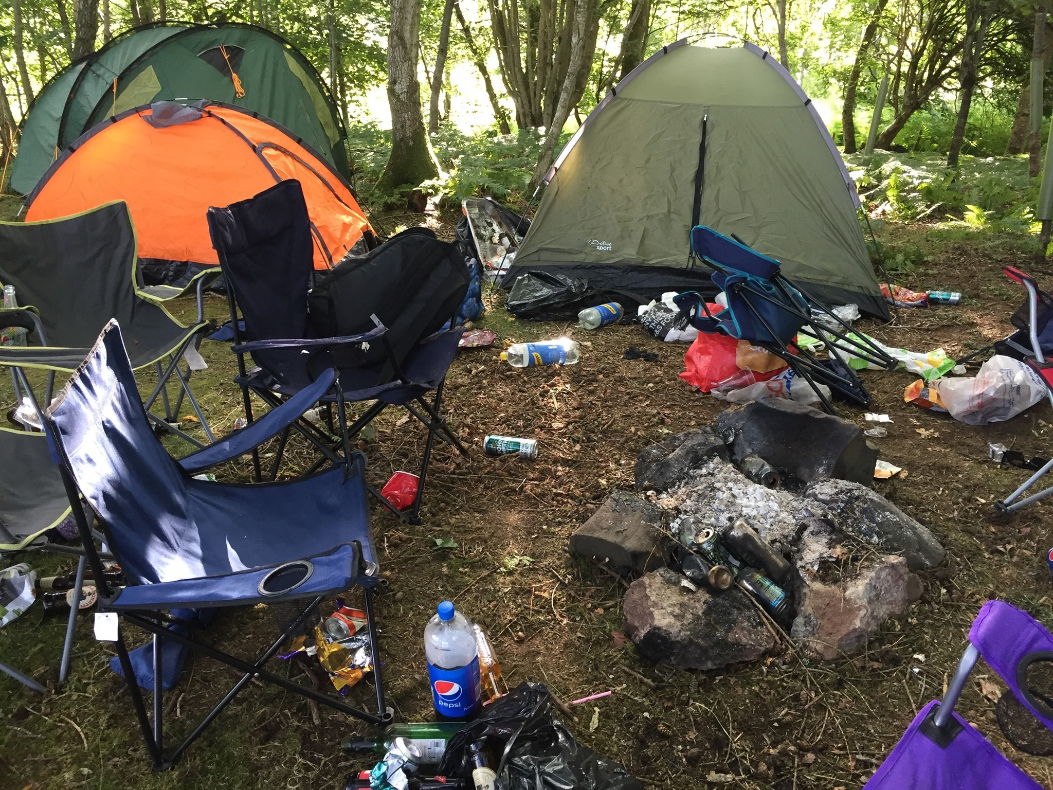 A campsite covered in litter- Scottish News