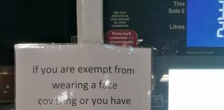 Sainsbury's force sign at petrol station after asking medically exempt non mask wearer to pay outside