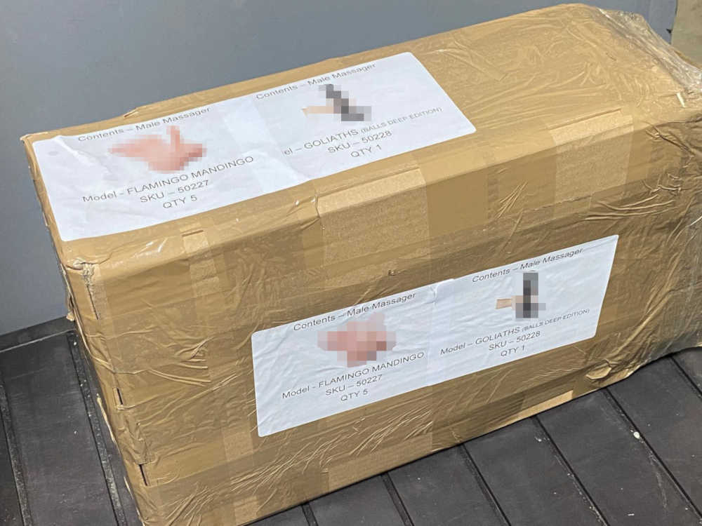 The parcel that has stickers stating the sex toys inside