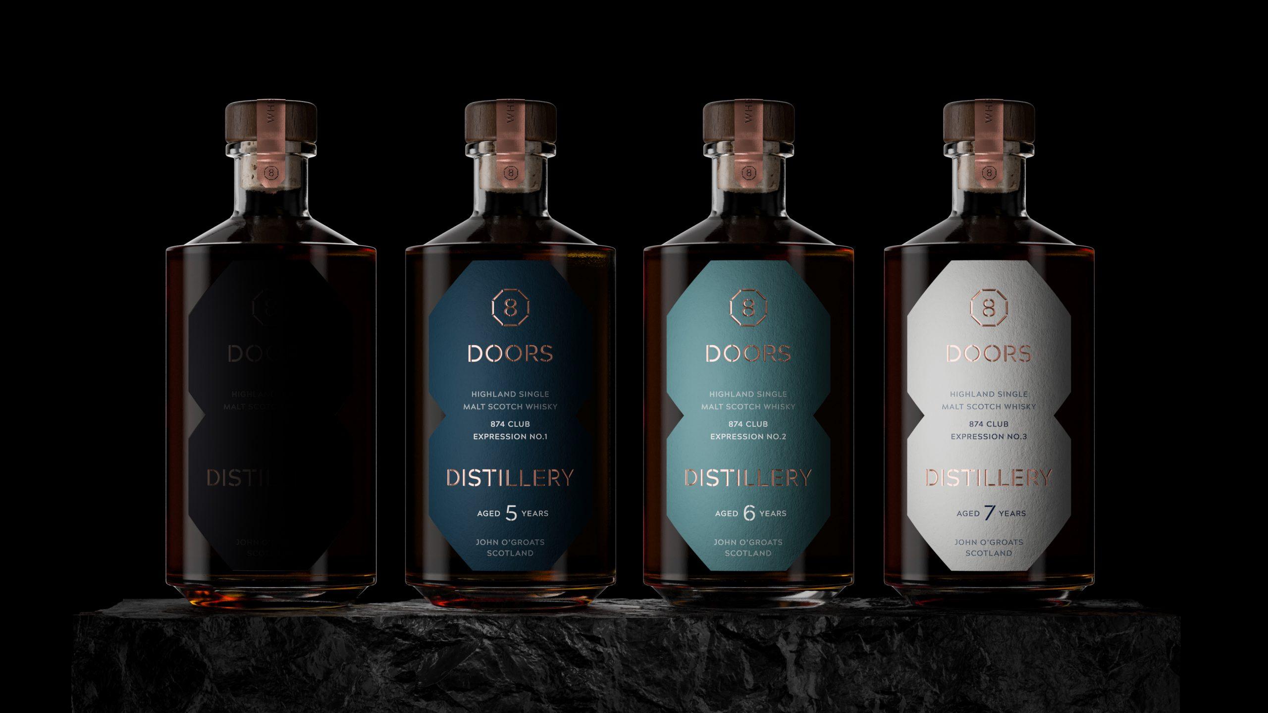 Four whisky bottles from 8 Doors distillery