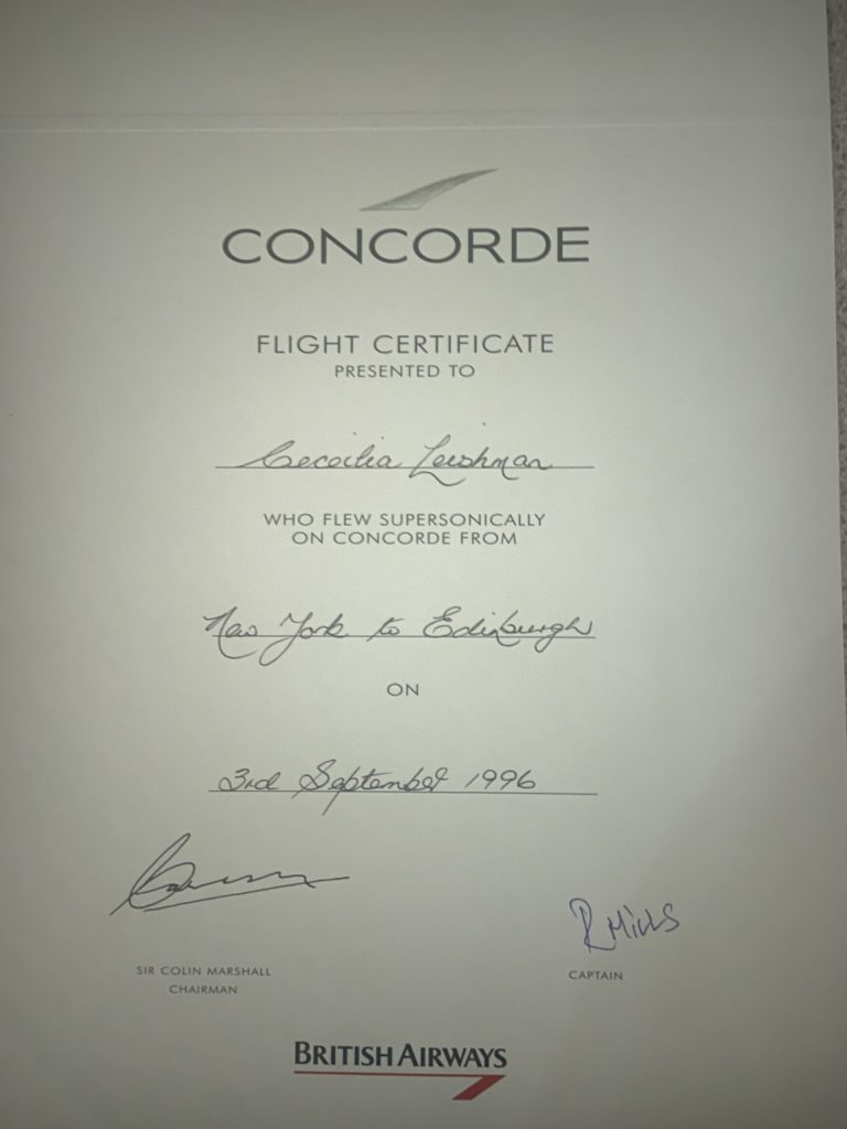 Cecilia's certificate from Concorde stating she flew supersonic | Community News