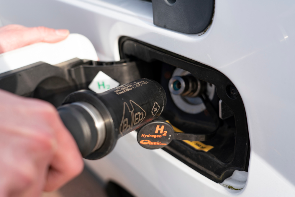 A Hydrogen styled pump that is required to refuel the buses