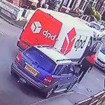 The DPD driver can be seen leaving his van to inspect the damage - Viral Video News